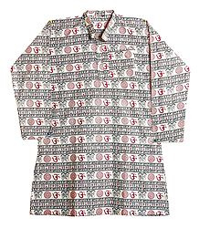 Off-White Full Sleeve Long Kurta with Om Print
