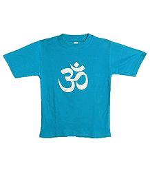 Hand Painted Om on Cyan T-Shirt