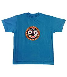 Embroidered Jagannathdev Face on Blue T-Shirt
