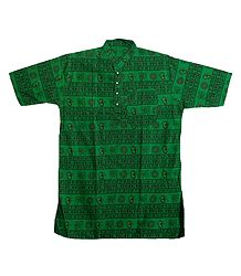 Green Short Kurta with Om Print for Men