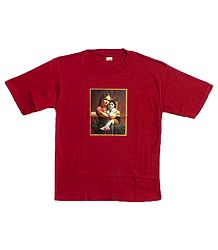 Printed Yashoda Krishna on Red T-Shirt