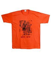 Lord Shiva Print on Saffron T-Shirt