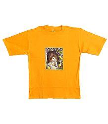 Printed Krishna on Yellow T-Shirt