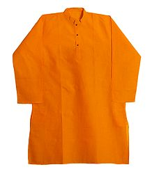 Full Sleeve Saffron Cotton Kurta for Men