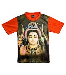 Printed Shiva on Black with Saffron T-Shirt