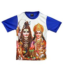 Printed Shiva Family on White with Blue T-Shirt