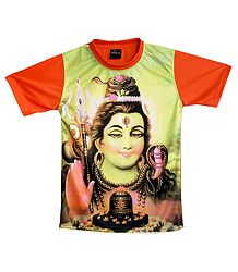 Printed Shiva Family on Light Green with Saffron T-Shirt