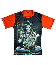 Printed Shiva and Ganesha on Black with Saffron T-Shirt