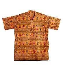 Saffron Short Kurta with Om Print for Men