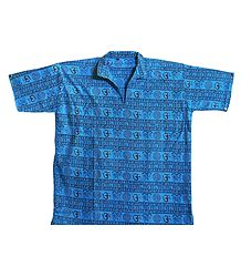 Dark Cyan Short Kurta with Om Print
