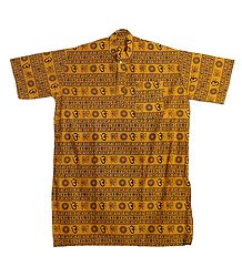 Yellow Short Kurta with Om Print for Men