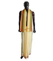 Shop Online Art Silk Light Yellow Lungi and Angavastra