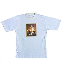 Printed Yashoda Krishna on Light Mauve T-Shirt