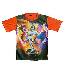 Printed Nataraj on Black with Saffron T-Shirt