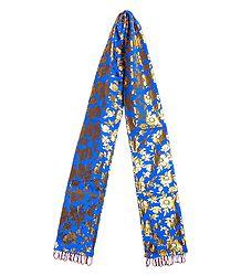 Golden Print on Blue Khada - Buddhist Angavastram