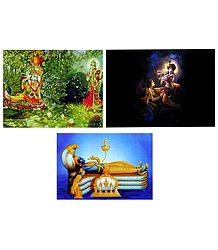 Radha Krishna and Anantashayan Vishnu - Set of 3 Posters