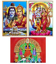 Radha Krishna,Shiva Parvati and Durga - Set of 3 Posters
