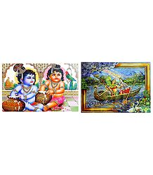 Radha Krishna and Krishna Balaram - Set of 2 Posters