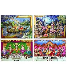 Radha Krishna and Pancha Gosain - Set of 4 Posters