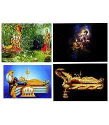 Radha Krishna and Anantashayan Vishnu - Set of 4 Posters