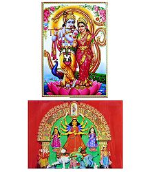Radha Krishna,Shiva Parvati and Durga - Set of 2 Posters