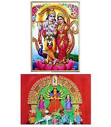 Radha Krishna,Shiva Parvati and Durga - Set of 2 Posters