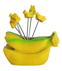Resin Banana Stand with 6 Fruit Forks