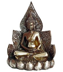 Buddha Sitting on Lotus - Antiquated Finish