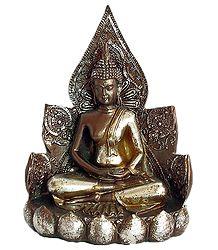 Buddha Sitting on Lotus - Antiquated Finish