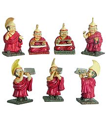 Set of 7 Buddhist Lamas - Stone Dust Statues