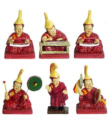 Set of 6 Buddhist Lamas - Stone Dust Statues