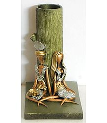 Resin Tribal Couple with Wooden Flower Vase