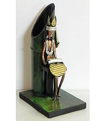 Resin Man with Dhol with Bamboo Flower Vase