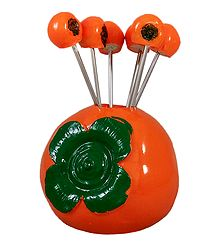 Persimmon Stand with Six Forks - Resin Sculpture