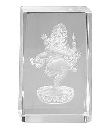 3-D Etched Glass Ganesha - Paper Weight