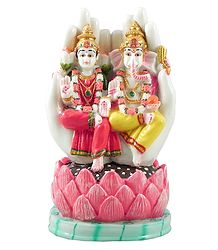 Lakshmi and Ganesha Resin Statue
