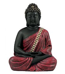 Meditating Buddha in Red Robe