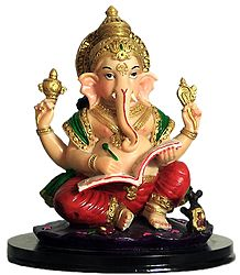 Lord Ganesha Writing Mahabharata - Resin Statue