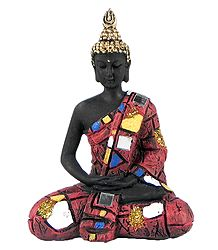 Meditating Buddha in Multicolor Robe
