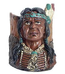 Pen Holder with Red Indian Face