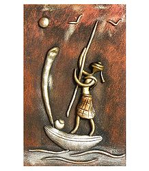 Boatman (New Tribal Art) - Wall Hanging