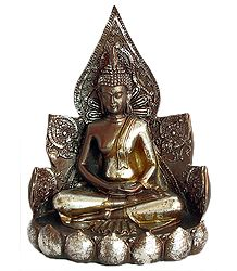 Buddha Sitting on Lotus - (Antiquated Finish)