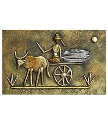 Farmer on Bullock Cart (New Tribal Art) - Wall Hanging