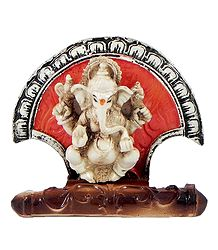 Resin Ganesha Statue Sitting on Fan