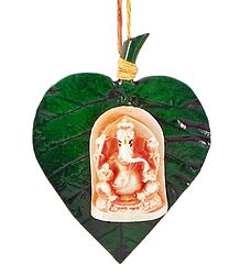 Resin Ganesha Statue on Paan Leaf