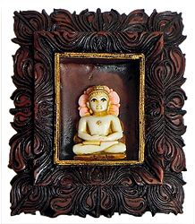 Resin Mahavir in a Carved Wooden Frame