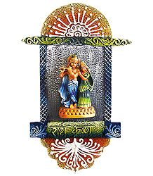 Radha Krishna on a  Platform - Wall Hanging