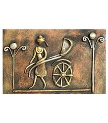 Rickshaw Puller (New Tribal Art) - Wall Hanging