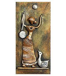 Goddess Saraswati (New Tribal Art) - Wall Hanging