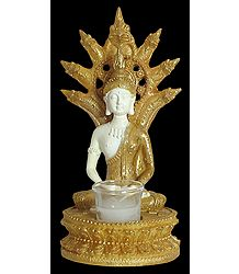Sitting Buddha on Golden Throne with Candle Stand